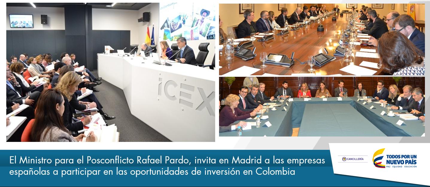 El Ministro para el Posconflicto Rafael Pardo, invita en Madrid a las empresas españolas a participar en las oportunidades de inversión en Colombia.